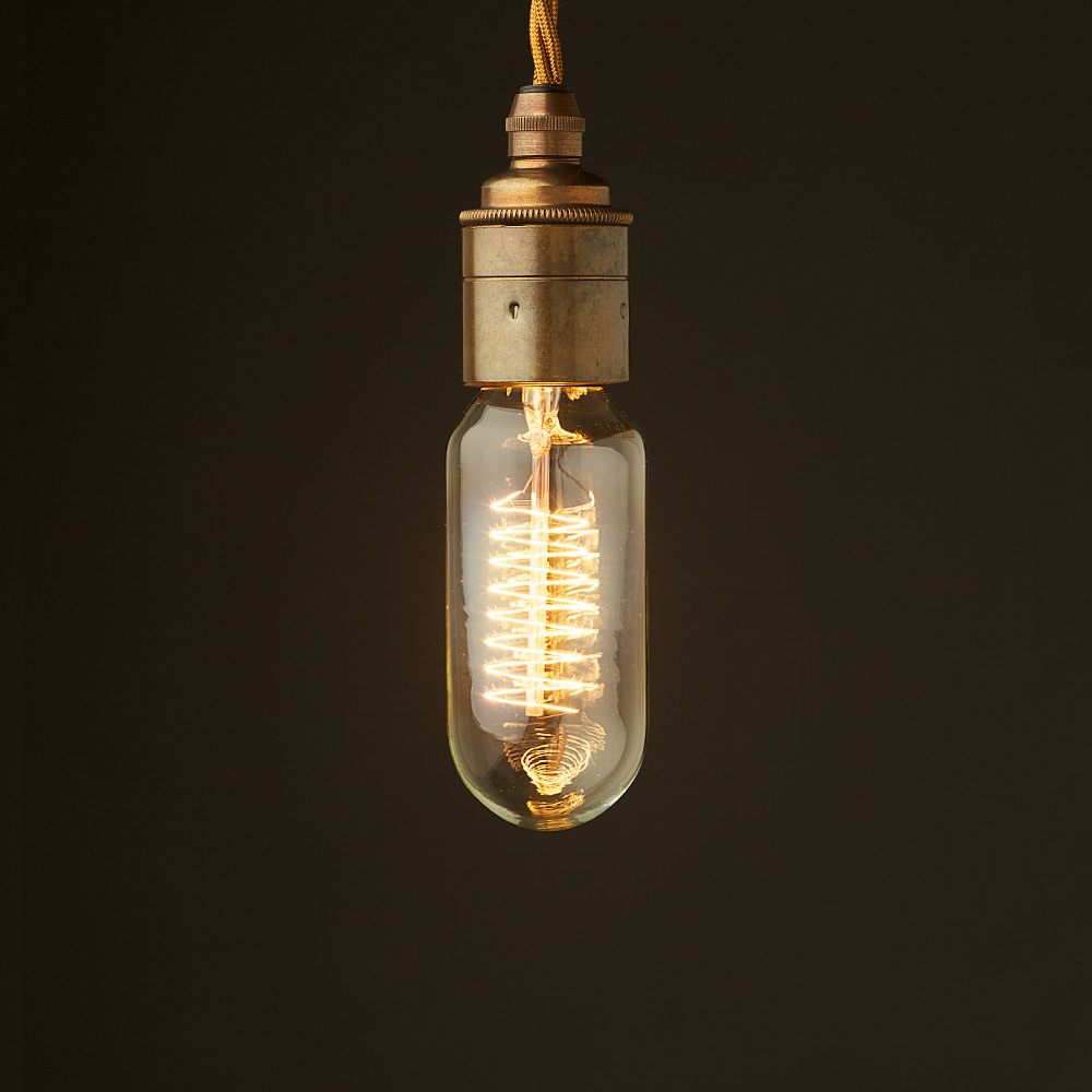 Hanging Light Bulb Fittings: Edison Style Light Bulb E27 Smooth Brass Fitting