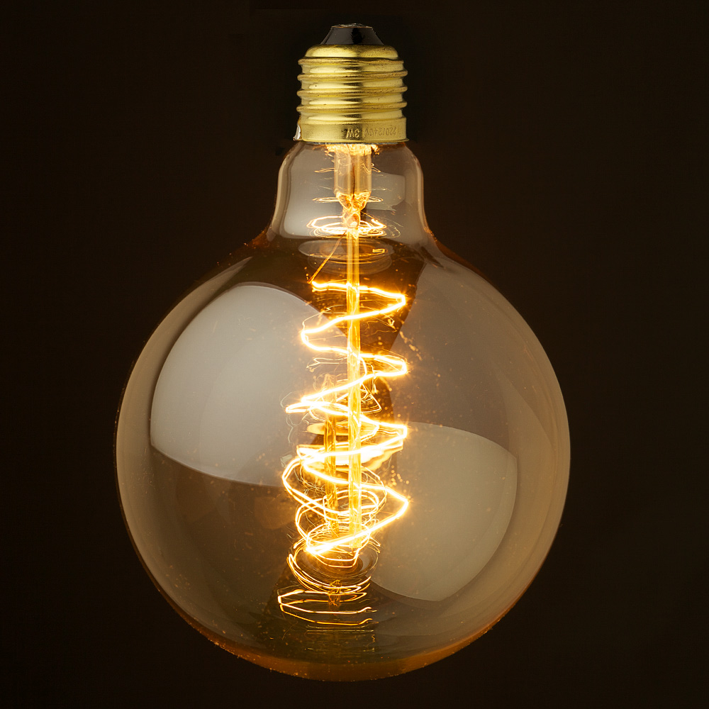 vintage edison spherical spiral filament bulb 125mm. Black Bedroom Furniture Sets. Home Design Ideas