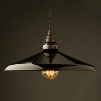 Large Black Enamel Coolie E27 Pendant