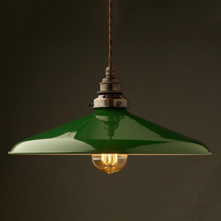 Large Green Enamel Coolie E27 Pendant