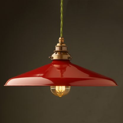 Large Red Enamel Coolie E27 Pendant