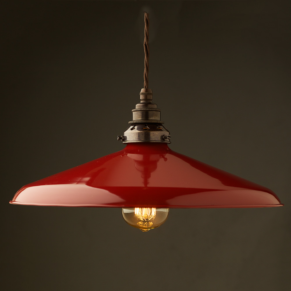 14 In Single Shade White And Silver Hanging Lamp Global: Large Red Enamel Coolie E27 Pendant