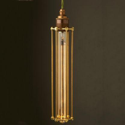 Edison style Long tube cage E27 brass pendant