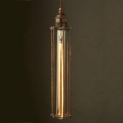 Edison style Long tube cage E27 bronze pendant