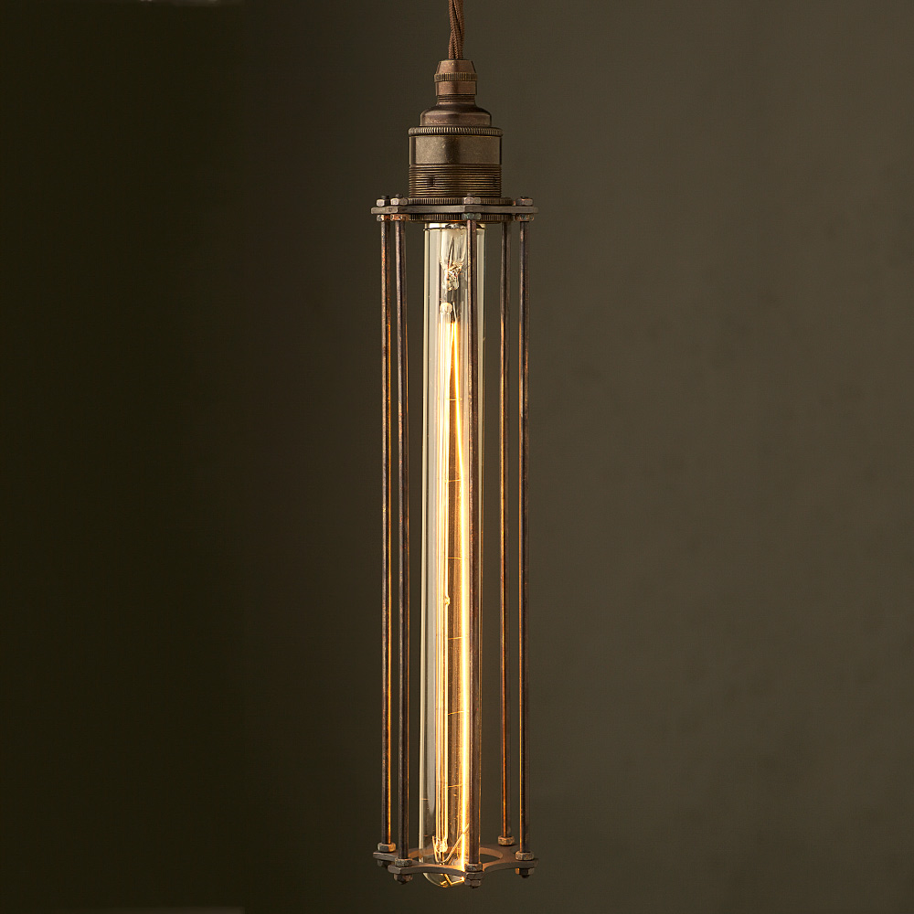 Long Antiqued Light Bulb Cage