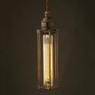 Edison style tube cage E27 bronze pendant