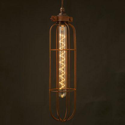 Long Antiqued Cage Pendant and zig zag LED bulb