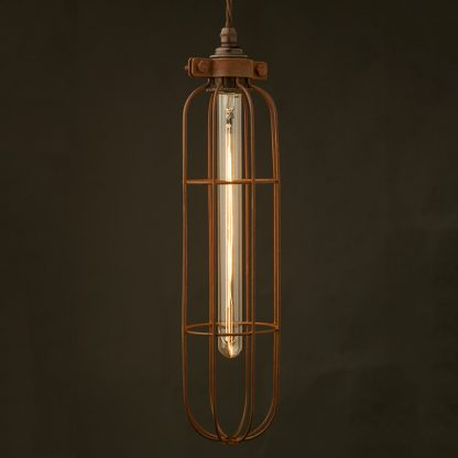 Long Antiqued Cage Pendant and tube bulb