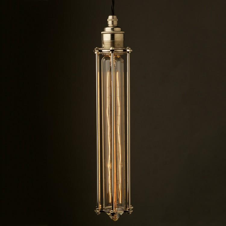 Edison style Long tube cage E27 nickel pendant