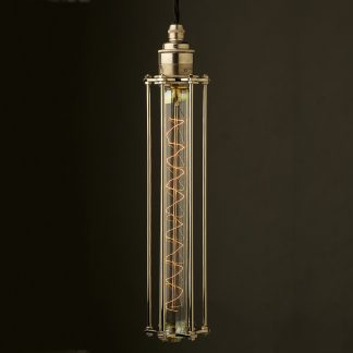 Edison style Long tube cage E27 nickel pendant