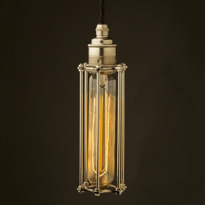 Edison style tube cage E27 nickel pendant
