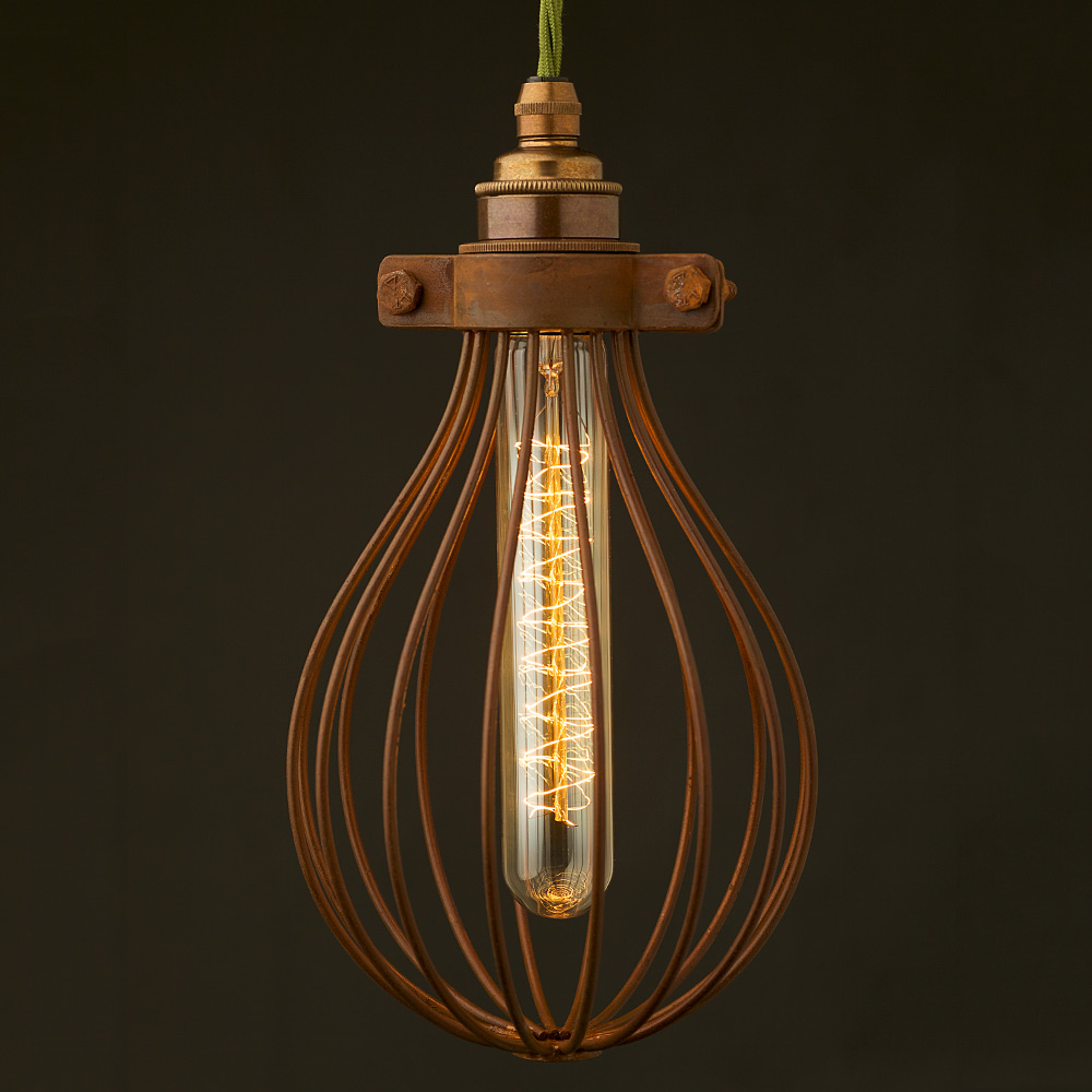 whisk shaped antiqued cage pendant and bulb