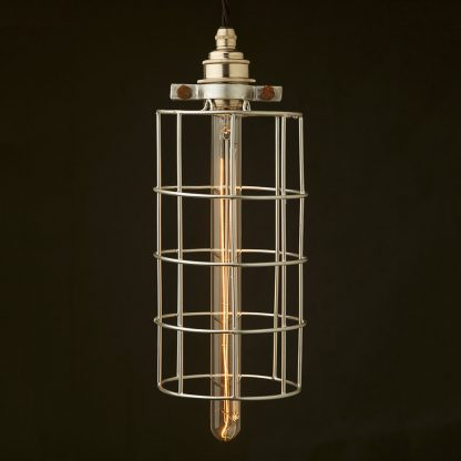 Wide tube plated cage pendant
