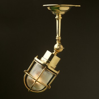 Adjustable Ships caged glass ceiling light