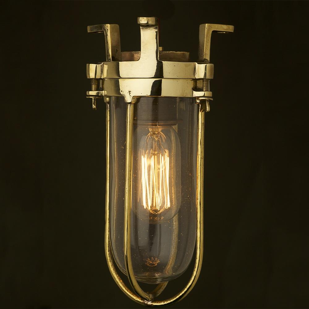 Fixed Ships Caged Glass Ceiling Light Edison Light