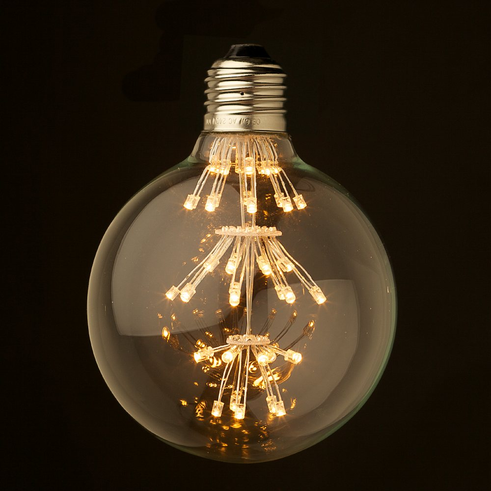dimmable 3 watt vintage led e27 clear 95mm round bulb. Black Bedroom Furniture Sets. Home Design Ideas