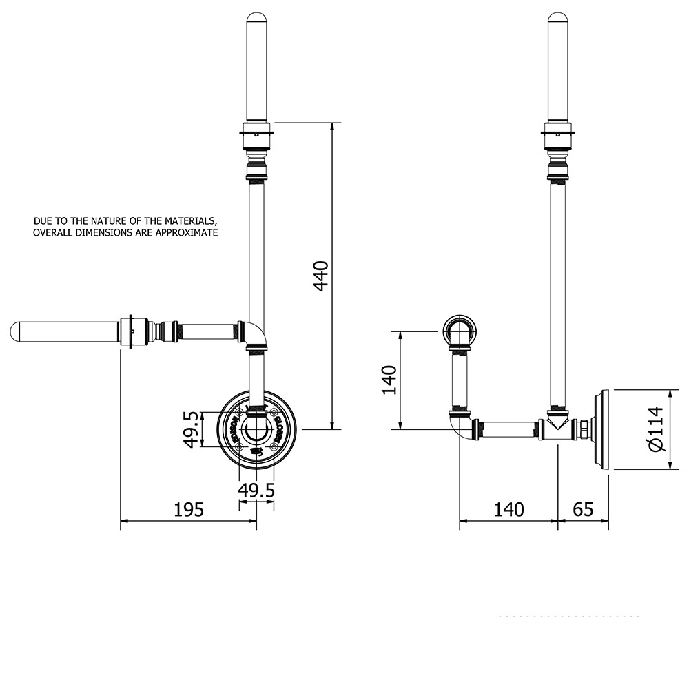 Plumbing Pipe Wall Lamp E27 Piping Schematic Drawing