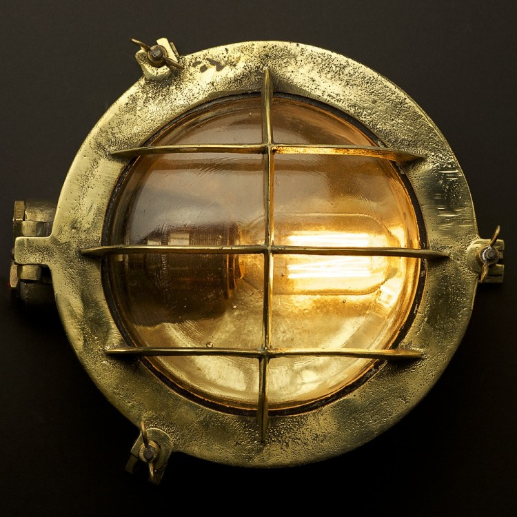 Round Globe Wall Lights : Brass Ships Round Cast Cage Bulkhead Light