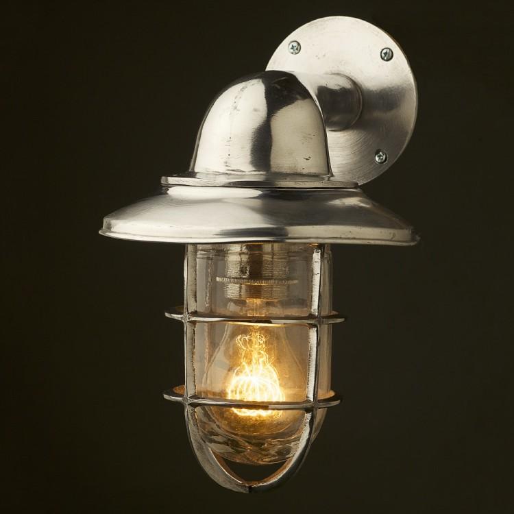 Vintage Ship Aluminum Shaded Bulkhead Wall Light