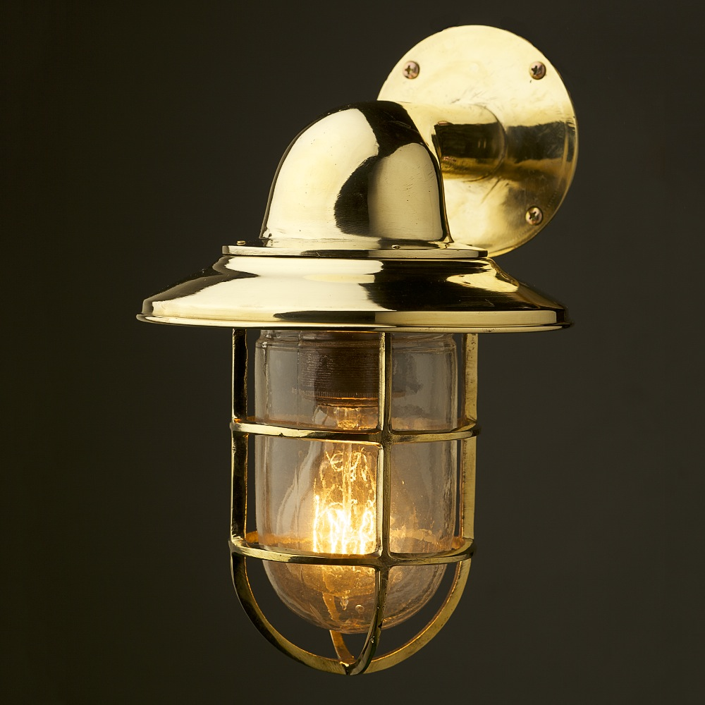 Brass Bulkhead Wall Lights : Vintage Ship Brass Shaded Bulkhead Wall Light