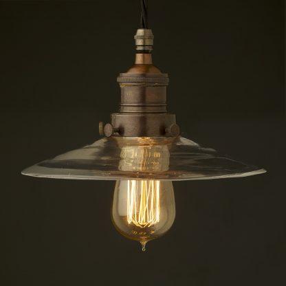 Multi option Glass shade cast bronzed brass gallery pendant