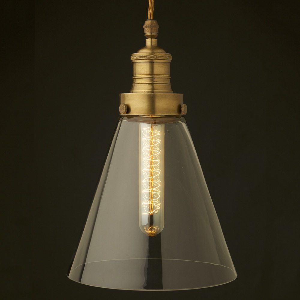 Clear Long Glass Shade Cast Brass Gallery Pendant