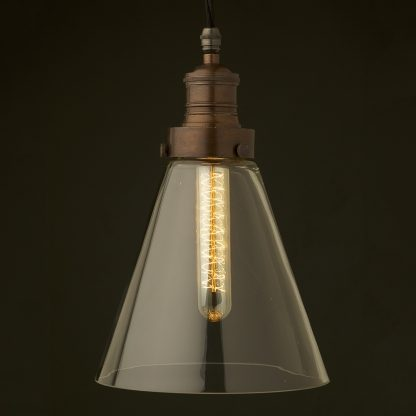 Clear long glass shade cast bronze gallery pendant
