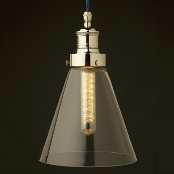Clear long glass shade cast nickel gallery pendant
