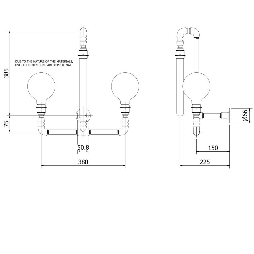 Plumbing Pipe Wall Lamp E27 And 3 Bulbs