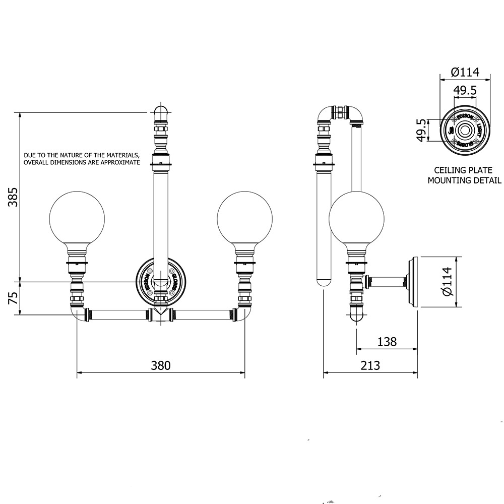 plumbing pipe wall lamp e27 with 3 lights