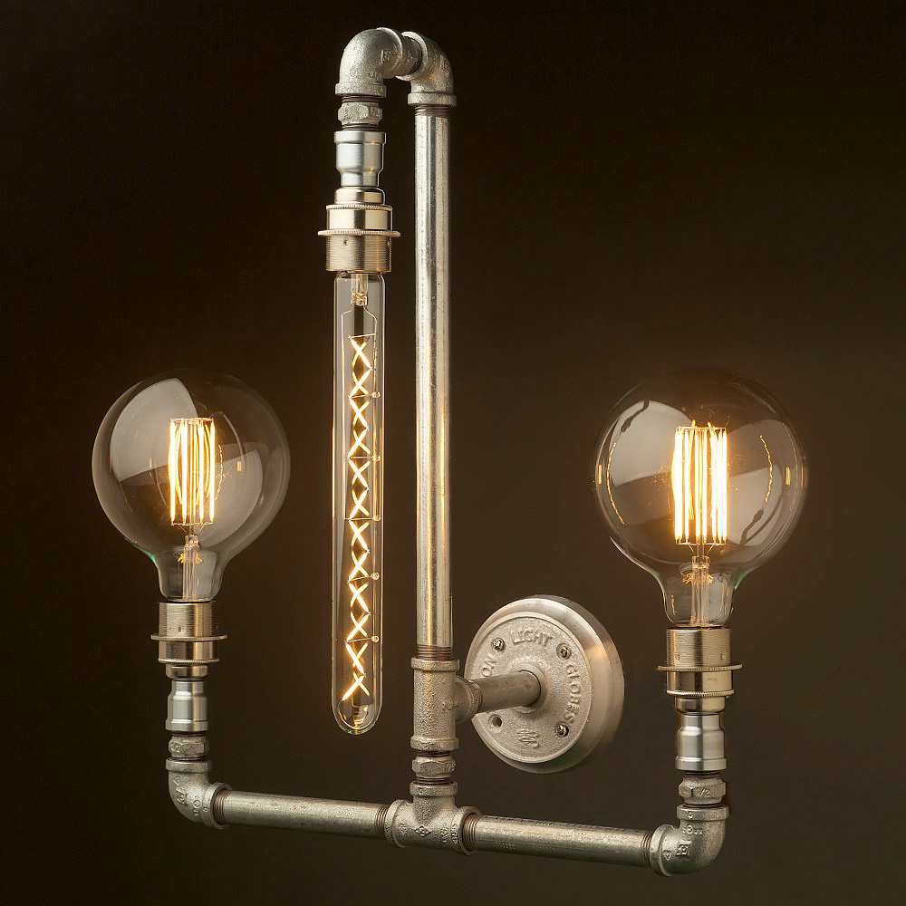 plumbing pipe wall lamp e27 with 3 lights. Black Bedroom Furniture Sets. Home Design Ideas