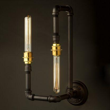 Plumbing Pipe Wall Lamp E27 Opposing Bulbs
