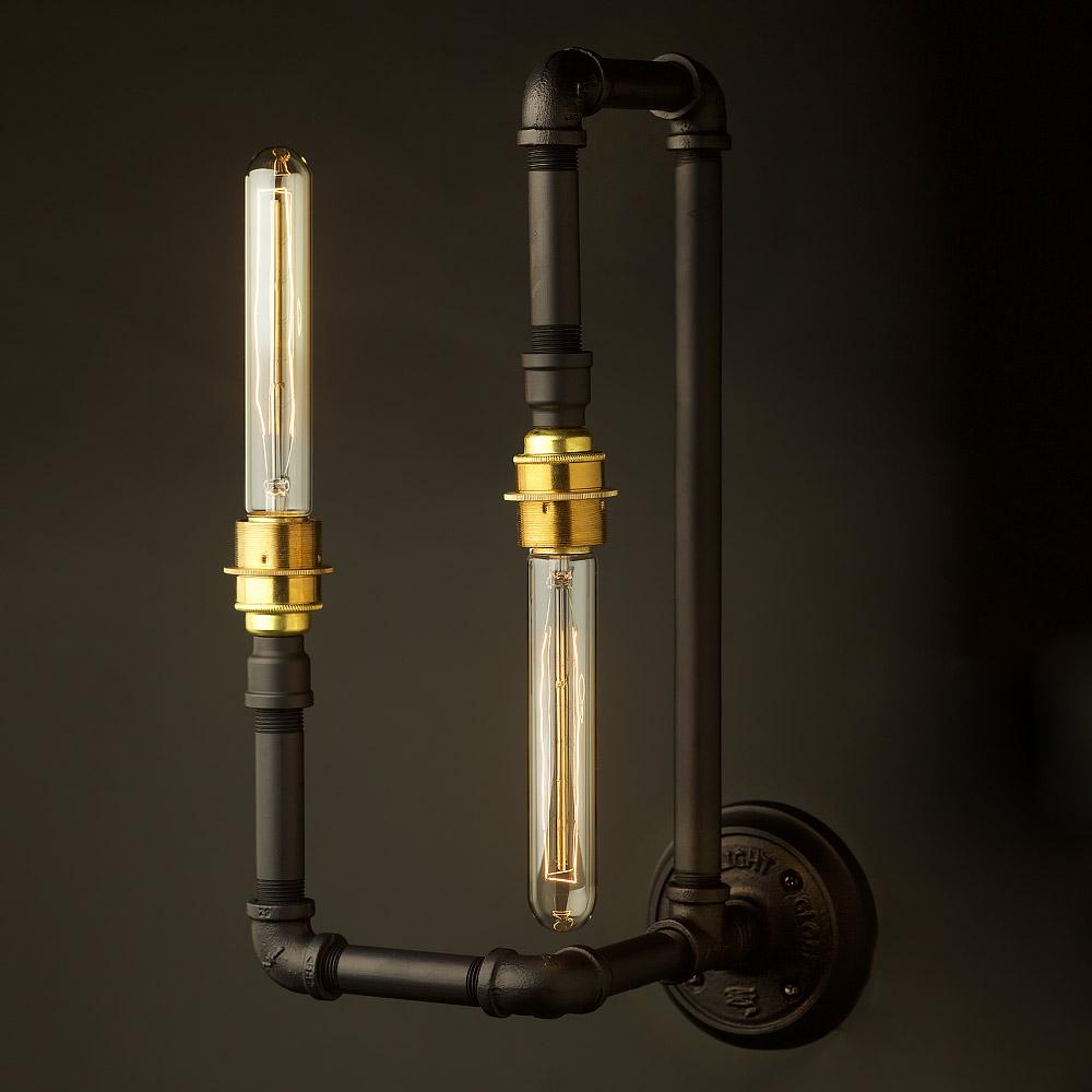 Plumbing Pipe Wall Lamp E27 With Opposing Bulbs