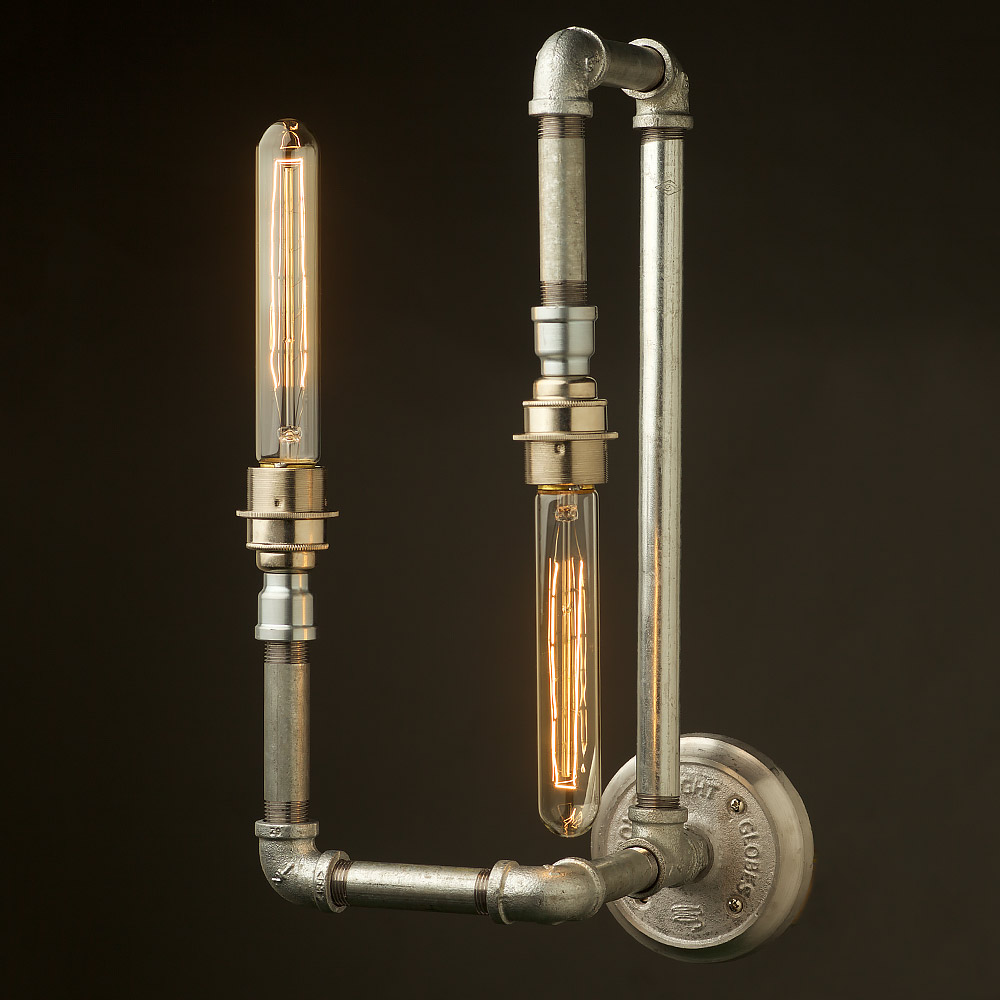 Plumbing pipe wall lamp e27 with opposing bulbs for Making a light bulb pipe