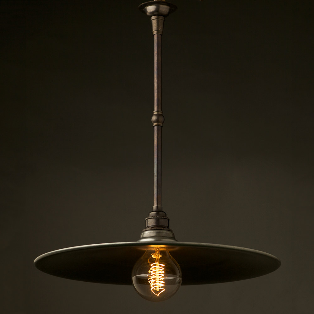 Pendant Light Bulb Type : Antiqued steel non gallery type flat light shade mm