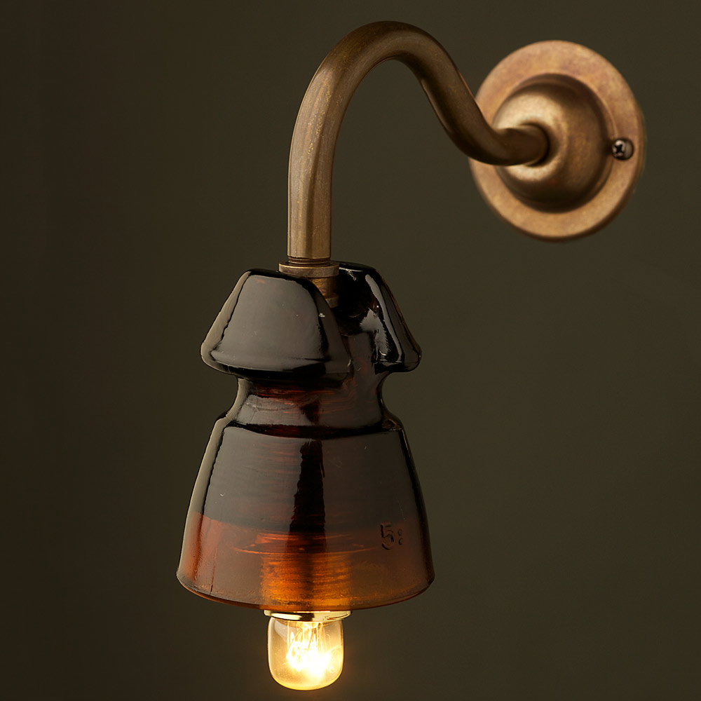 Wall Mounted Globe Light Fitting : Brass Coventry Wall mount Heavy Amber E14 fitting