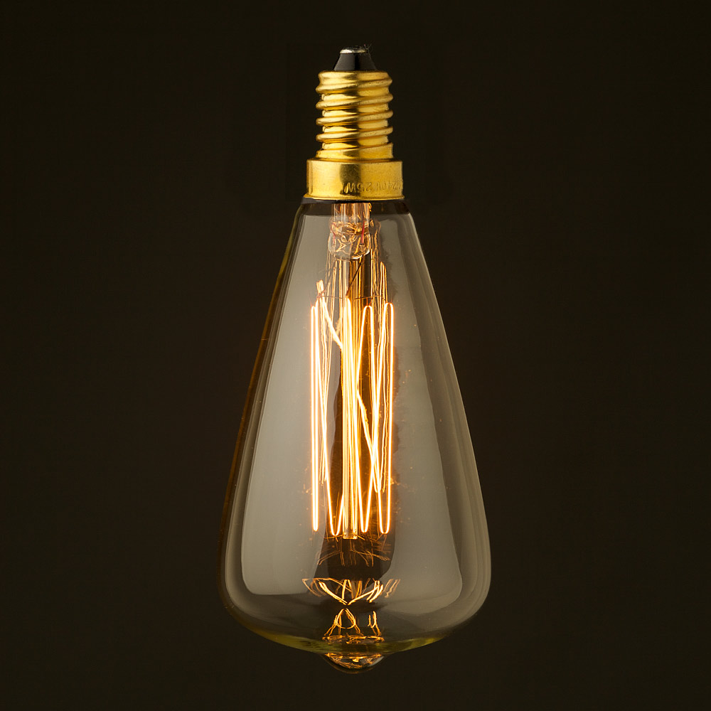 vintage small edison teardrop filament bulb e14. Black Bedroom Furniture Sets. Home Design Ideas
