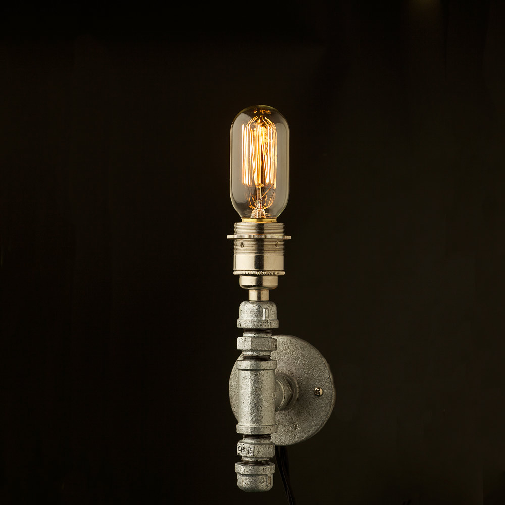 Wall Light Candle Tubes : Vintage galvanised wall candle light E27