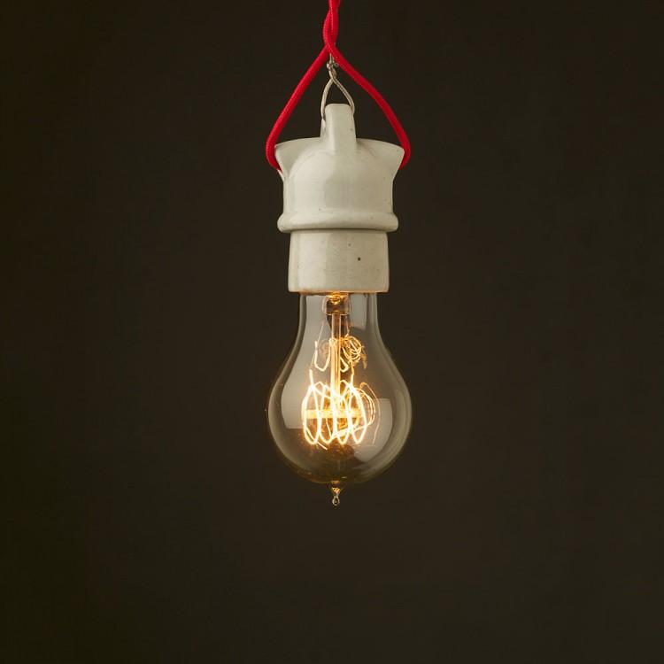 Edison style light bulb E27 White Porcelain industrial fitting