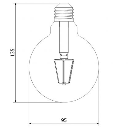 3.5 Watt Dimmable Filament LED E27 Clear 95mm round bulb