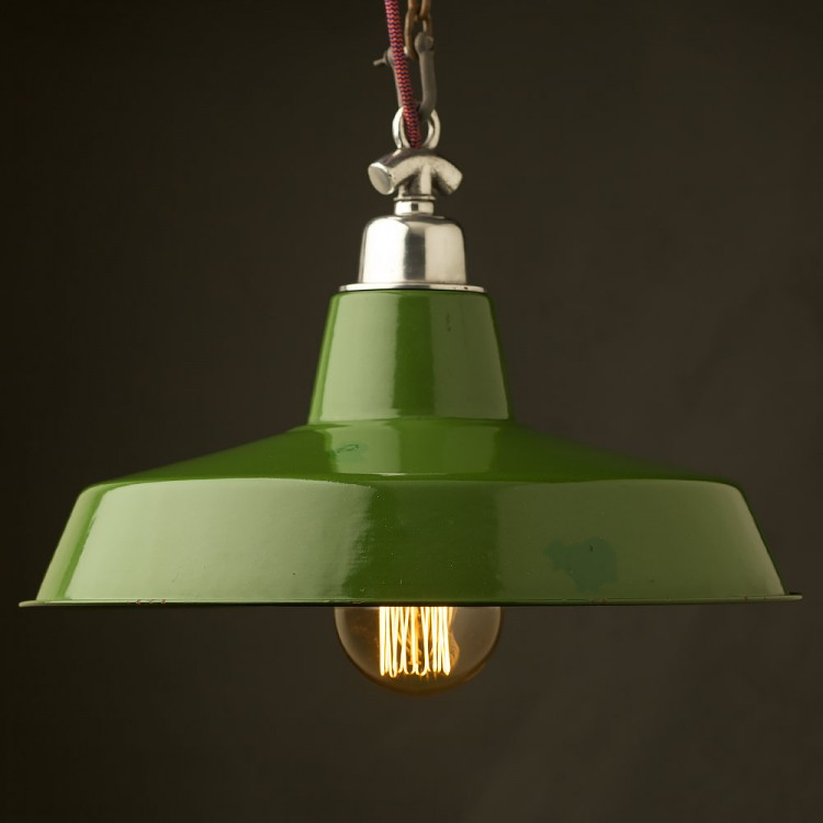 450mm Vintage Green Enamel Factory shade