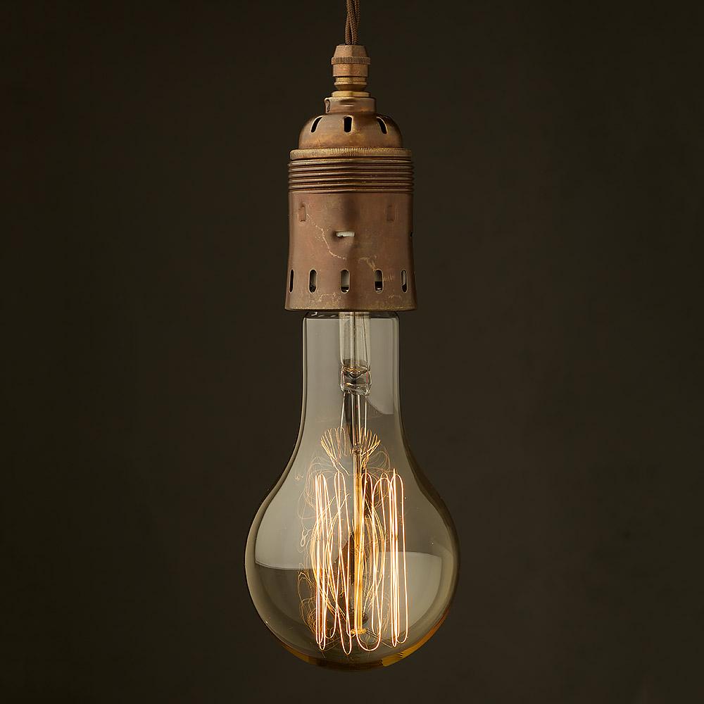 Hanging Light Bulb Fittings: Edison Style Light Bulb E40 Antiqued Brass Pendant