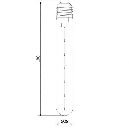 5 Watt Dimmable Filament LED E27 Clear Medium Tube