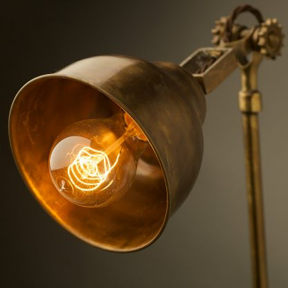 Adjustable Brass Wall Lamp Shade vintage bulb detail
