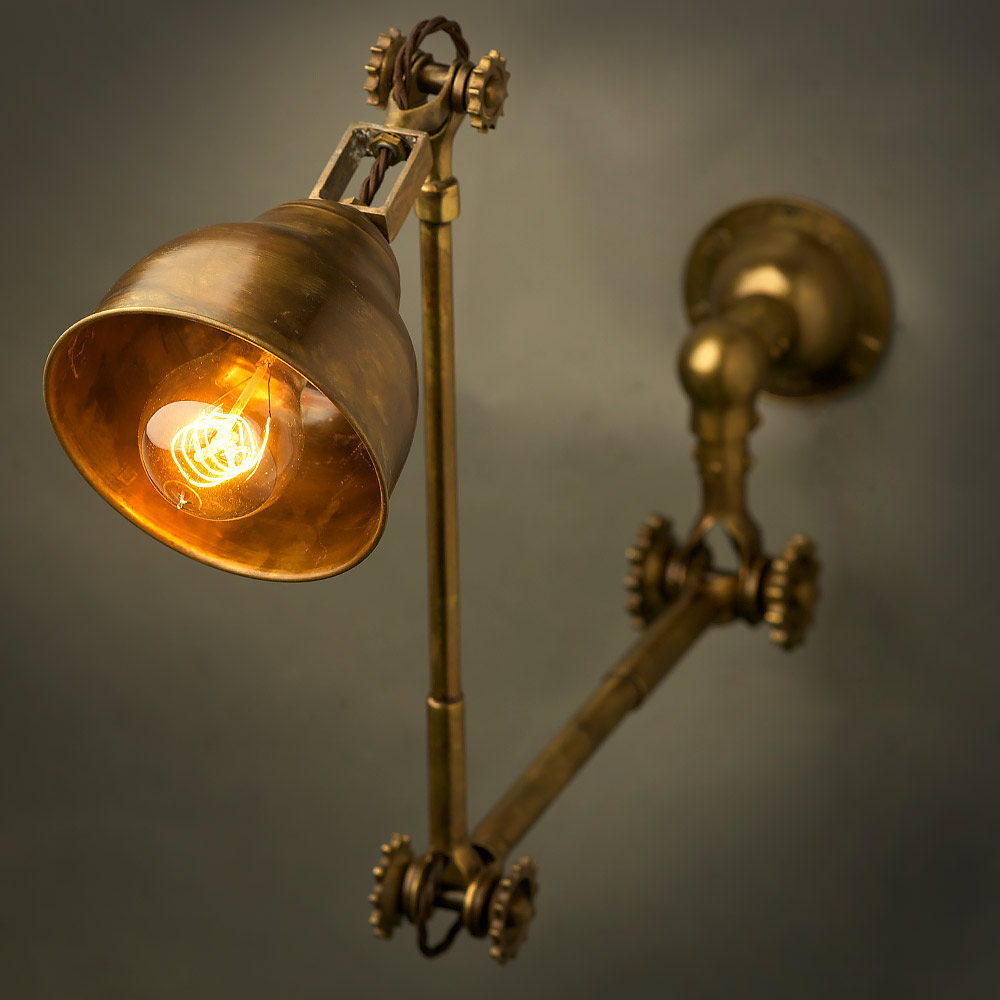 Adjustable Brass Wall Lamp And Shade