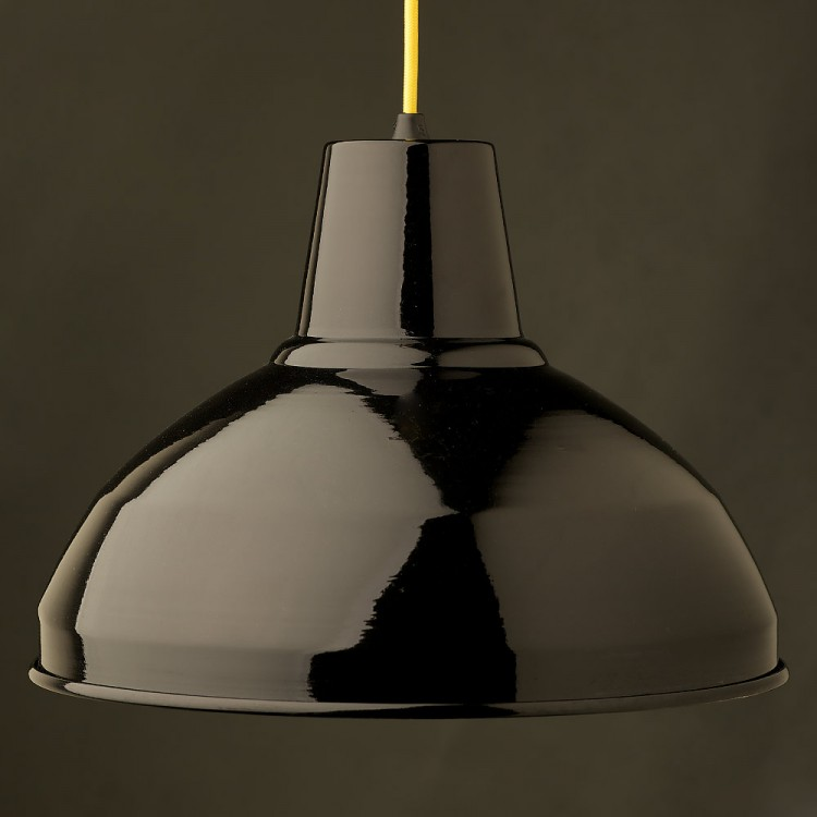 Black Factory Shade Bakelite Pendant Lampholder