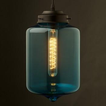 Blue colored glass straight edged jar pendant