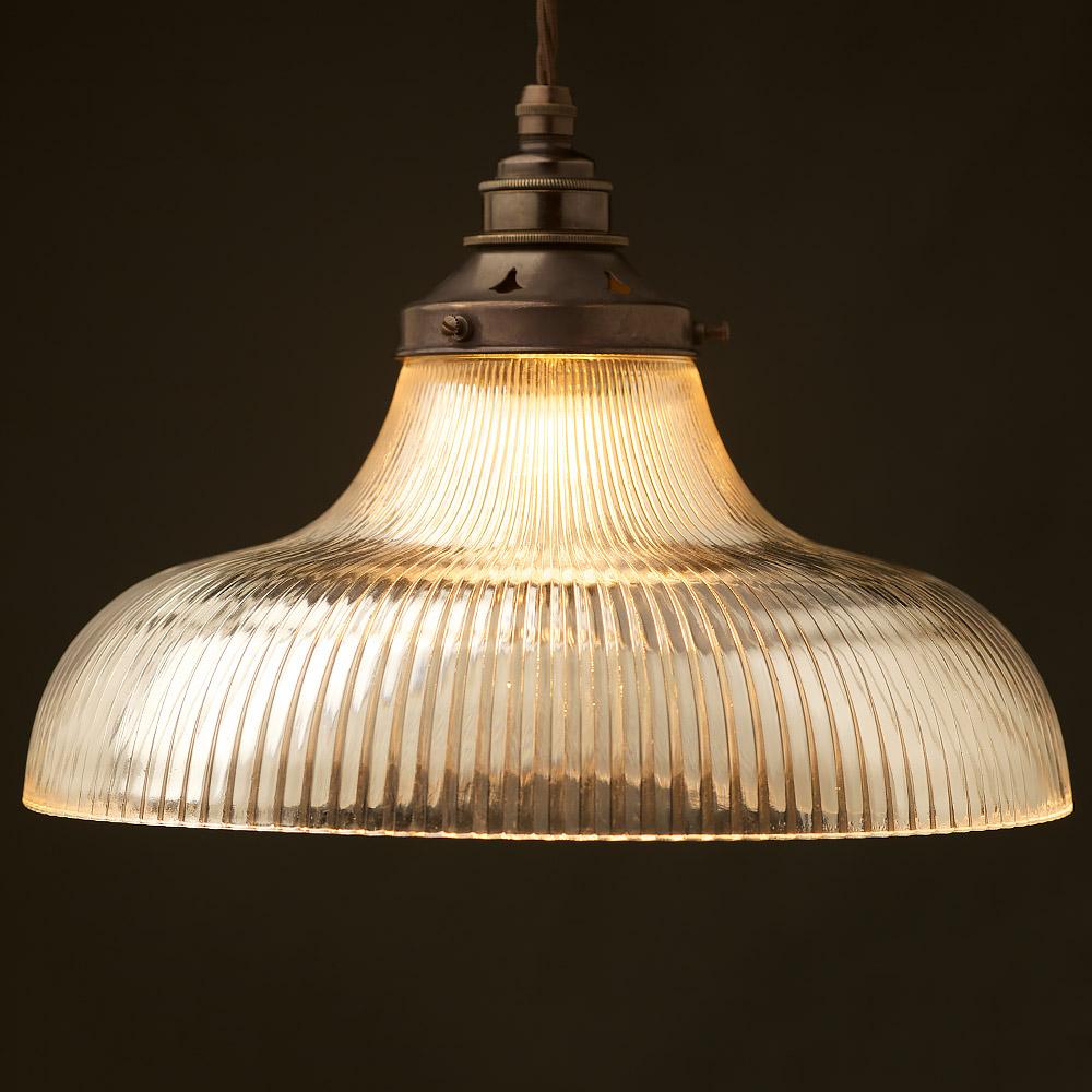 Large holophane glass dish light shade pendant mozeypictures Choice Image