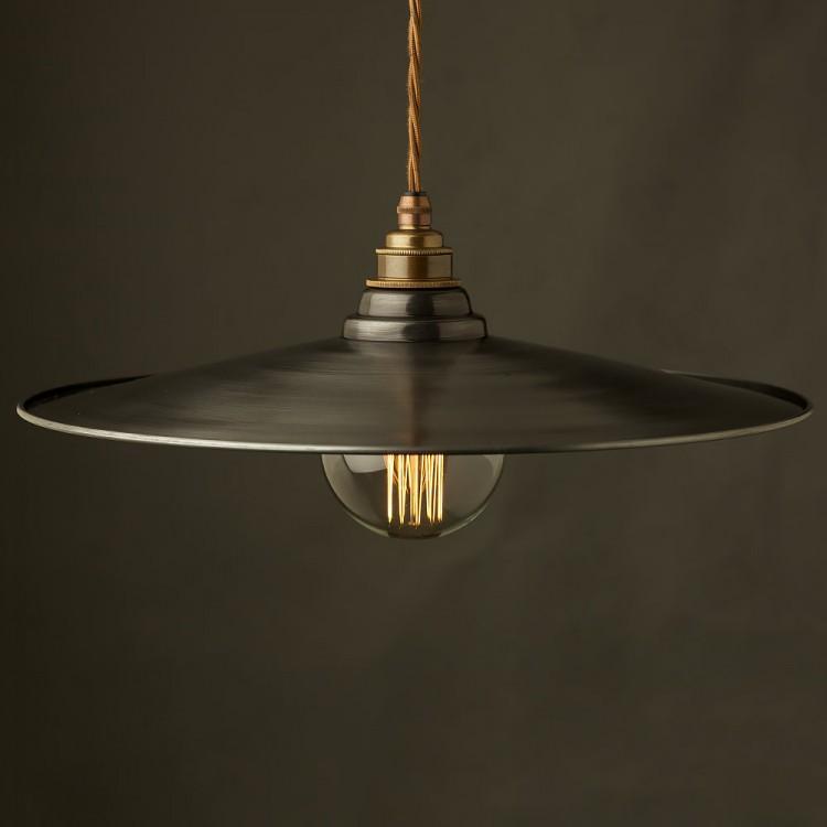 Rustic Steel Flat Shade Pendant Brass E27