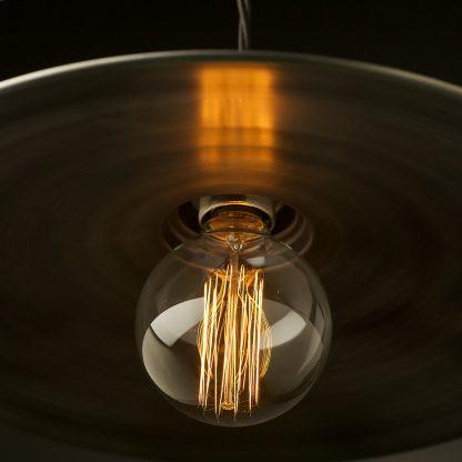 Antiqued Steel Flat Shade Pendant Brass E27